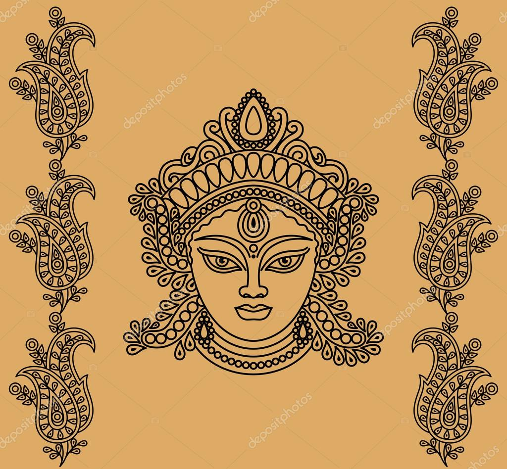 Female face with decorative floral designs on a beige background  Vettoriali Stock  #12653185