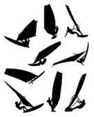 Nine surfers — Stock Vector
