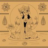 Indian goddess — Stock Vector