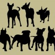 Silhouette of the dogs — 图库矢量图片