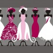 Hats and dresses — Image vectorielle