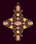 Χρυσό Σταυρό floral — Διανυσματικό Αρχείο