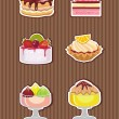 Cakes and ice cream — Stock Vector
