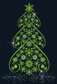Christmas tree from snowflakes — Vector de stock