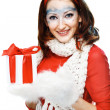 Stock Photo: Sexy womwith present wrapped in white paper