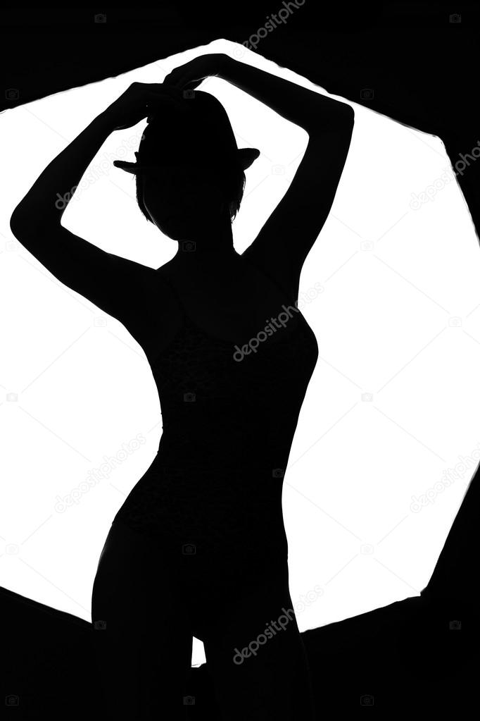 Stylish silhouette beautiful woman dancing cabaret isolated white background — Zdjęcie stockowe #14588415