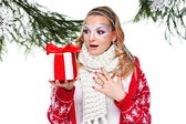 Woman with present wrapped in white paper — Stock Photo