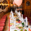 Table set for a wedding reception - Stock Photo