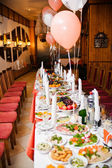Table set for a wedding reception — Stock Photo