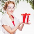 Sexy woman with present — Stock Photo