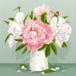 Pink and white peony bouquet - Stock Vector