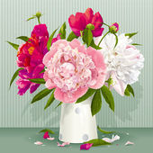 Pink, red and white peony bouquet — Stock Vector