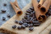 Cinnamon Sticks And Coffee Beans — Stock Photo