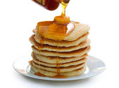 Plate of Pancakes isolated on white — Stock Photo