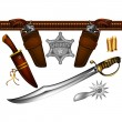 Set of sheriff's weapons and accessories — Stock Vector #40220181