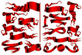 Set of red ribbons — Stock Vector