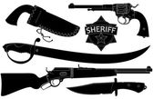 Set of sheriff's weapons and accessories — Stock Vector