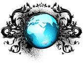 мир с цветочными элементами — Cтоковый вектор