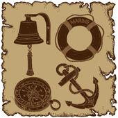 Marine theme, icons set — Stock Vector