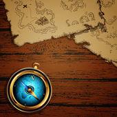 Marine theme, compass & map — Stock Vector