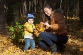 The boy in a yellow jacket collects with mother leaves on a fore — Stock Photo
