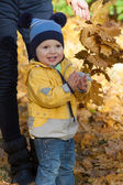 The boy in a yellow jacket claps against yellow leaves — Stock Photo