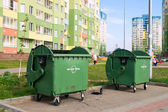 "Garbage Cans ""Clean City"" in urban neighborhoods — Stock Photo"