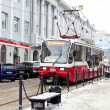 Nizhny Novgorod tram rides on Christmas street in winter — 图库照片