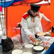 Постер, плакат: Street vending pancakes on Shrove Tuesday