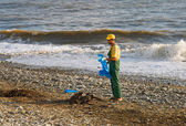 Worker removes debris on the beach by the sea — Stock Photo