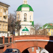 Resurrection Temple and Stone Bridge in Voronezh in early spring — Stock Photo