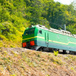 Train rides against the green hillside — Stock Photo