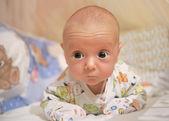 Månad barnet i spjälsängen på magen håller huvud — Stockfoto