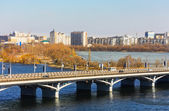 Voronezh in March, kind on Chernavsky bridge and Left coast — Stock Photo