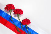 Carnations on Russian flag — Stock Photo