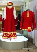 Russian male and female dance costume — Stock Photo