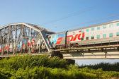 Two-storeyed morning Sochi train of Russian railways — Stock Photo