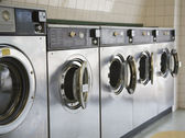 Laundromat front loading washers — Stock Photo