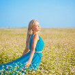 Beautiful woman wearing blue dress on a field — Stock Photo #13489402