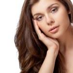 Beautiful brunette portrait over white — Stock Photo