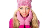 Blonde woman wearing knitwear — Stock Photo