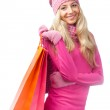 Blonde woman with shopping bags — Stock Photo