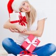 Royalty-Free Stock Photo: Blonde woman holding gift box