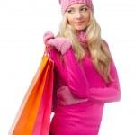 blond kobieta z torby na zakupy — Zdjęcie stockowe