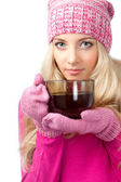 Woman holding cup of drink — Stock Photo