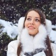 Beautiful brunette woman standing under snowfall — Stock Photo #17165109