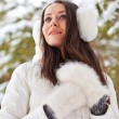 Woman walking in winter park — Stock Photo