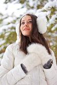 Woman walking in winter park — Stock Photo
