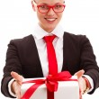 Businesswomholding giftbox — Stock Photo #18503459