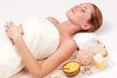 Woman in spa receiving treatment — Stock Photo